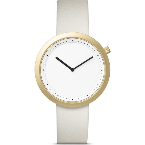 Bulbul Facette 04 Men's Watch | Matte Golden Steel on Cream White Italian Leather
