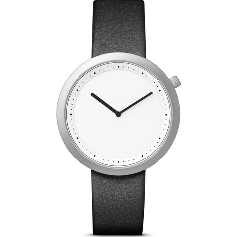 Bulbul Facette 05 Men's Watch | Matte Steel on Black Italian Leather