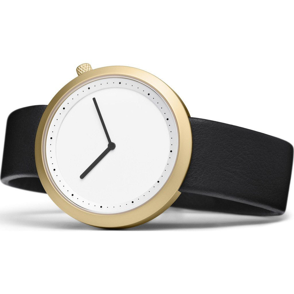 Bulbul Facette 06 Men's Watch | Matte Golden Steel on Black Italian Leather