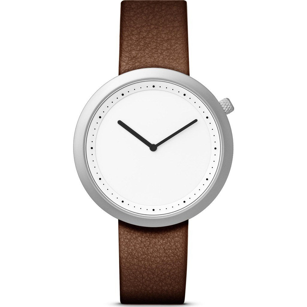 bulbul Facette 07 Watch | Matte Steel on Brown Italian Leather F07