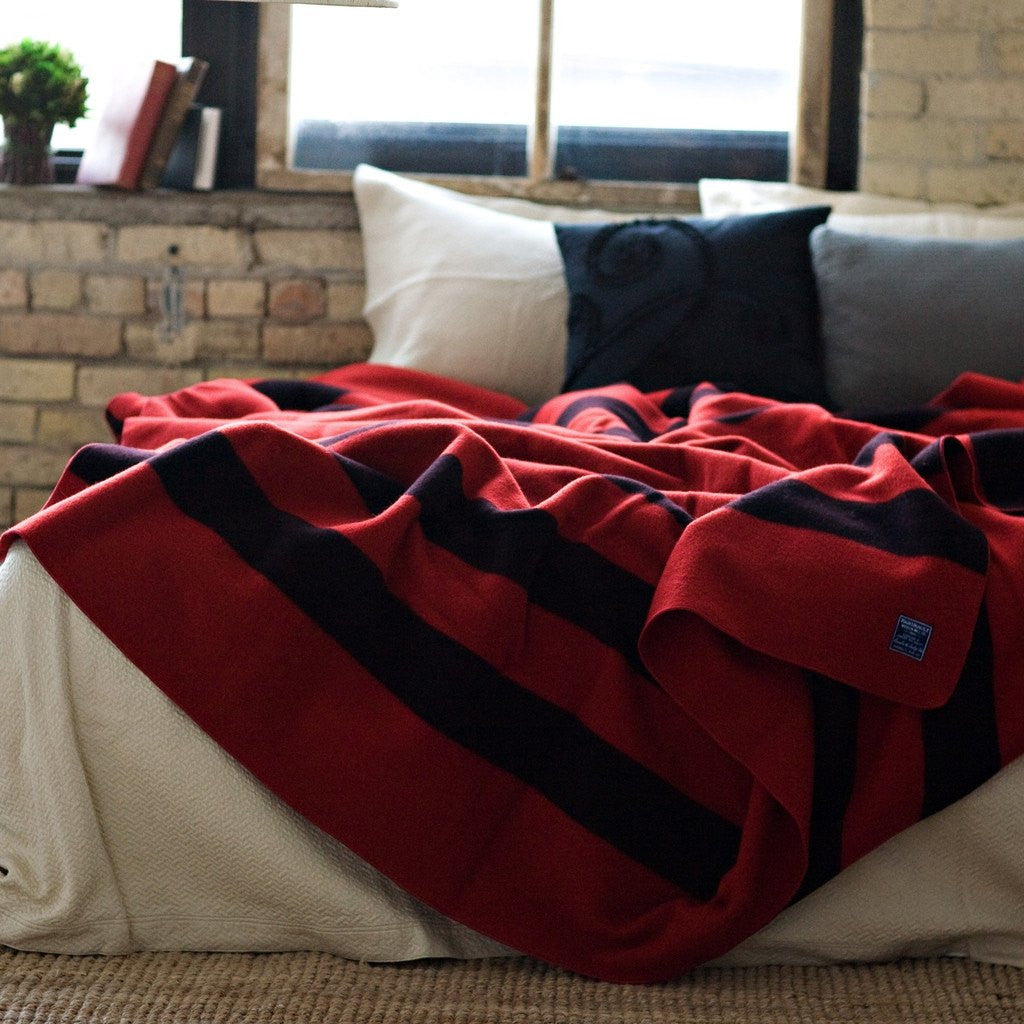 Faribault Revival Stripe Wool Blanket | Red 1640 Twin/1633 Queen