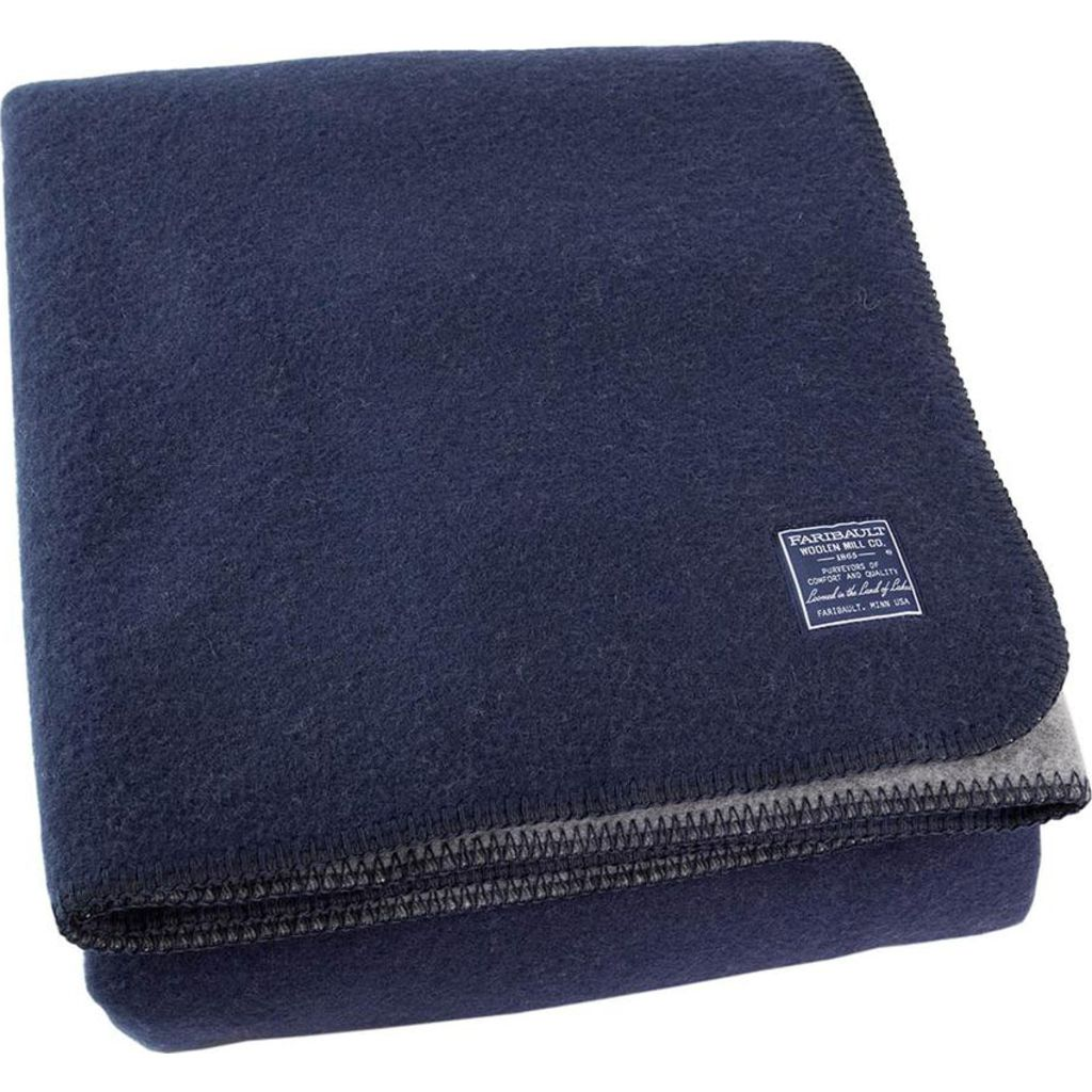 Faribault Summit Solid Reversible Wool Blanket -Queen --Heather Gray/Navy B2DFNV1189