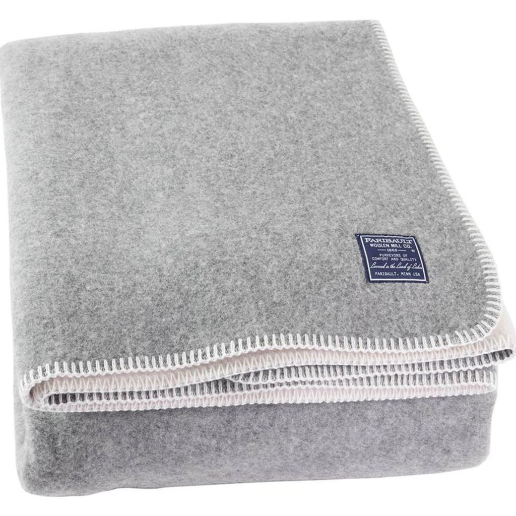 Faribault Summit Solid Reversible Wool Blanket -King -Heather Gray/Navy B3DFNV1226