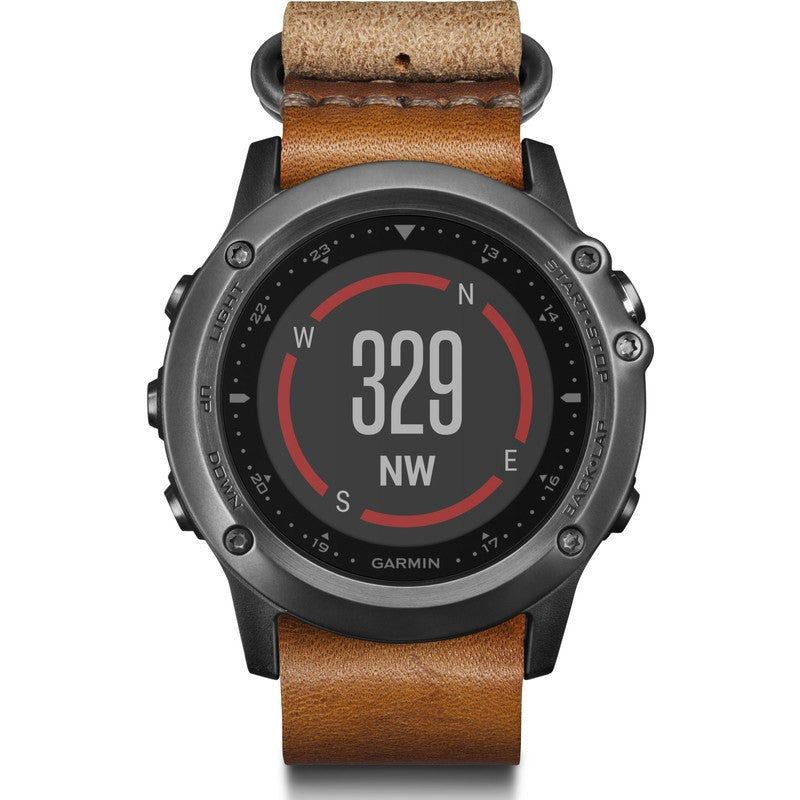 Garmin Fenix 3 Sapphire Multi-Sport GPS Watch | Gray/Leather 010-01338-80