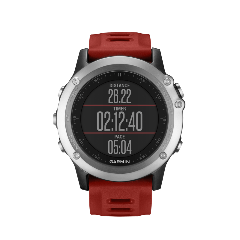 Garmin Fenix 3 Watch Performer Bundle with HRM-Run | Silver/Red