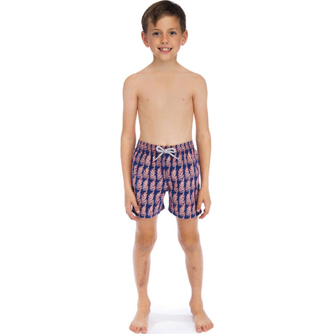 Tom & Teddy Boy's Fern Swim Trunk | Navy & Pink / 11-12
