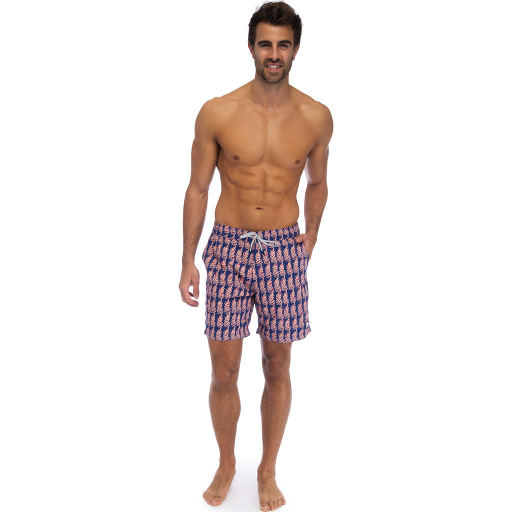 45a410f93b318 ... Tom & Teddy Men's Fern Swim Trunk | Navy & Pink / XL ...