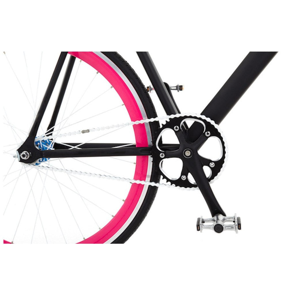 Sole Bicycles Fiance Fixed Single Speed Bike | Matte Black Frame/Pink Rims Sole 031-49