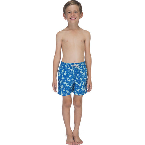Tom & Teddy Boy's Flamingo Swim Trunk | Sky Blue / 11-12