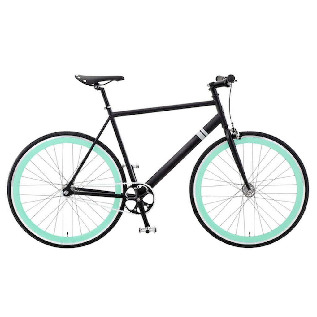 Sole Bicycles Foamside Fixed Single Speed Bike | Matte Black Frame/Seafoam Green Rims Sole 054-49
