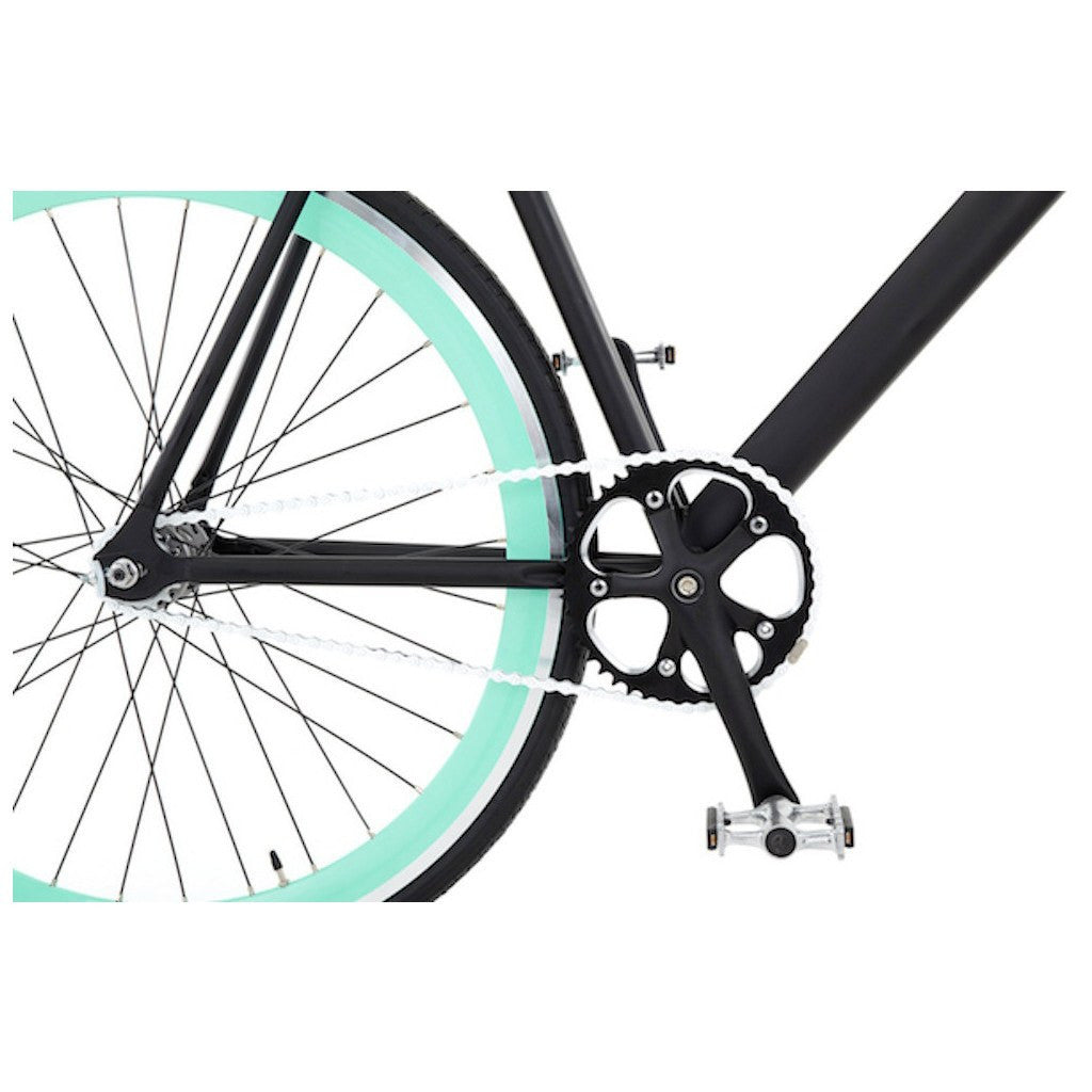 Sole Bicycles Foamside Fixed Single Speed Bike | Matte Black Frame/Seafoam Green Rims Sole 054-52