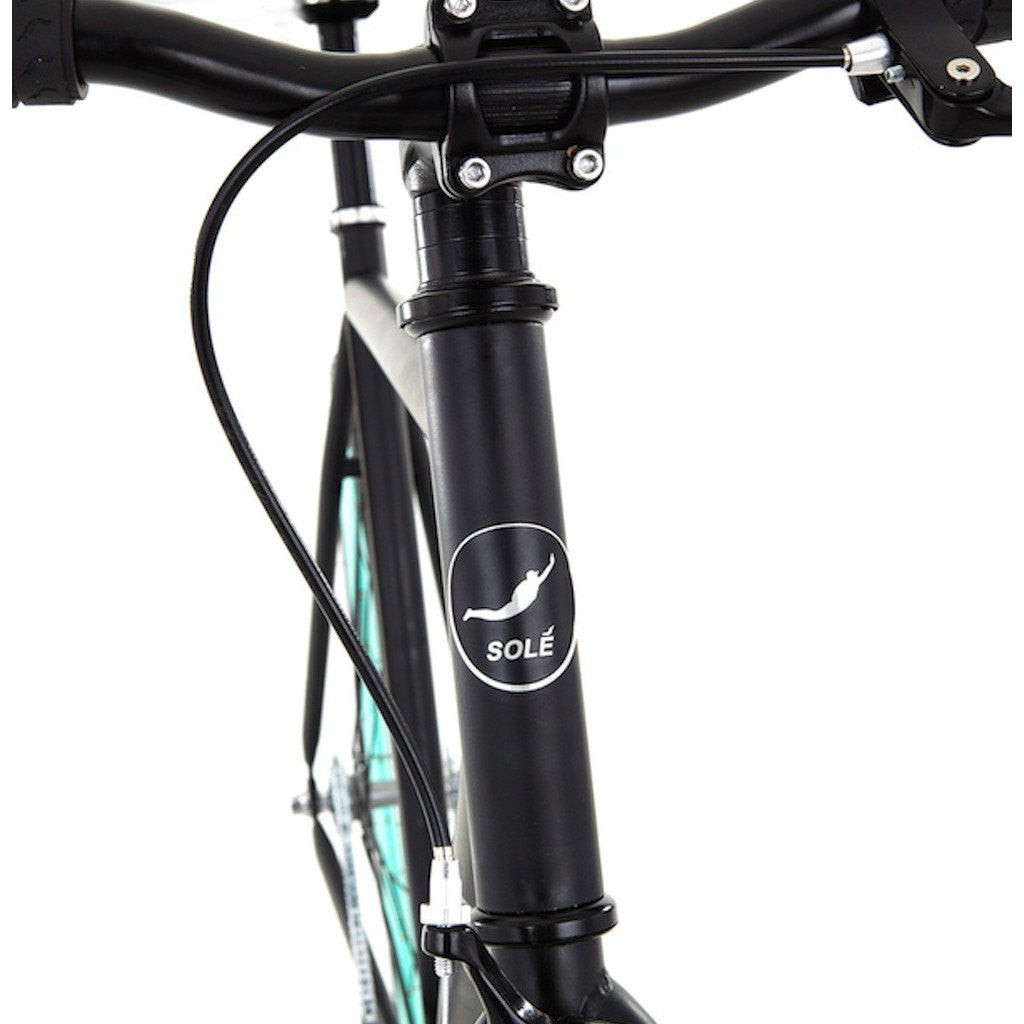 Sole Bicycles Foamside Fixed Single Speed Bike | Matte Black Frame/Seafoam Green Rims Sole 054-55