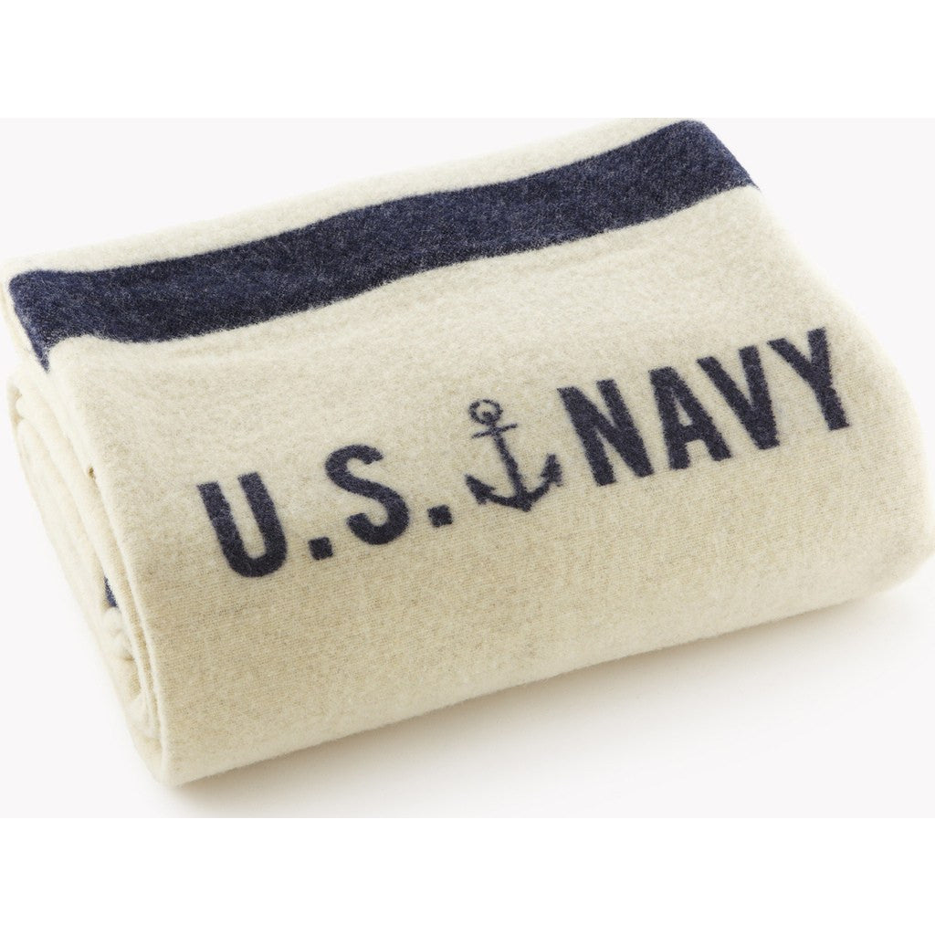 Faribault Foot Soldier Wool Blanket | US Navy Cream 5471 Twin 66x85
