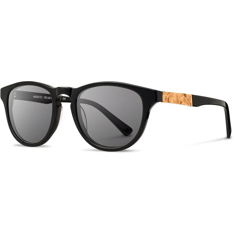 Shwood Francis Acetate Fifty Fifty Sunglasses | Black & Maple Burl / Grey