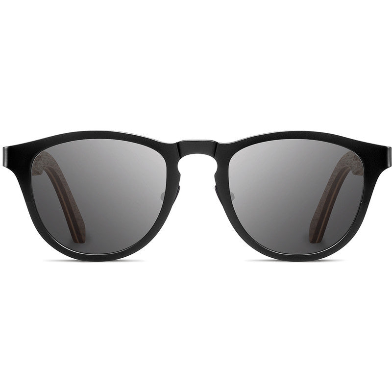 Shwood Francis Titanium Fifty Fifty Sunglasses | Black & Walnut / Grey
