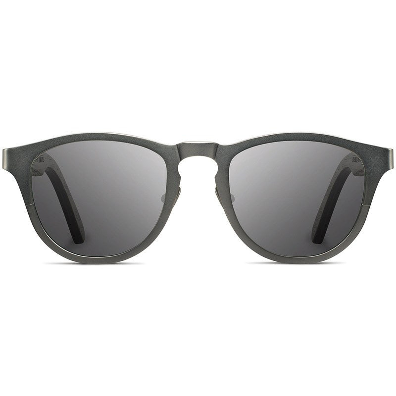 Shwood Francis Titanium Fifty Fifty Sunglasses | Gunmetal & Dark Walnut / Grey