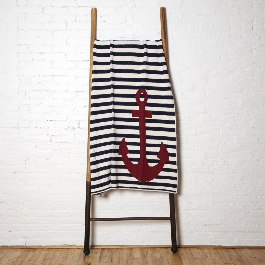 in2green French Stripe Anchor Eco Throw | Marine BL01FR2