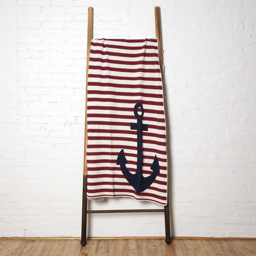 in2green French Stripe Anchor Eco Throw | Pomegranate BL01FR1
