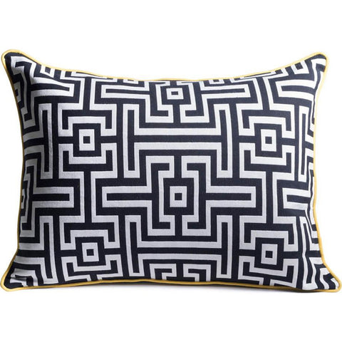 Aesthetic Content Frenzy Woven Lumbar Pillow | Black & White/Marine 2000182