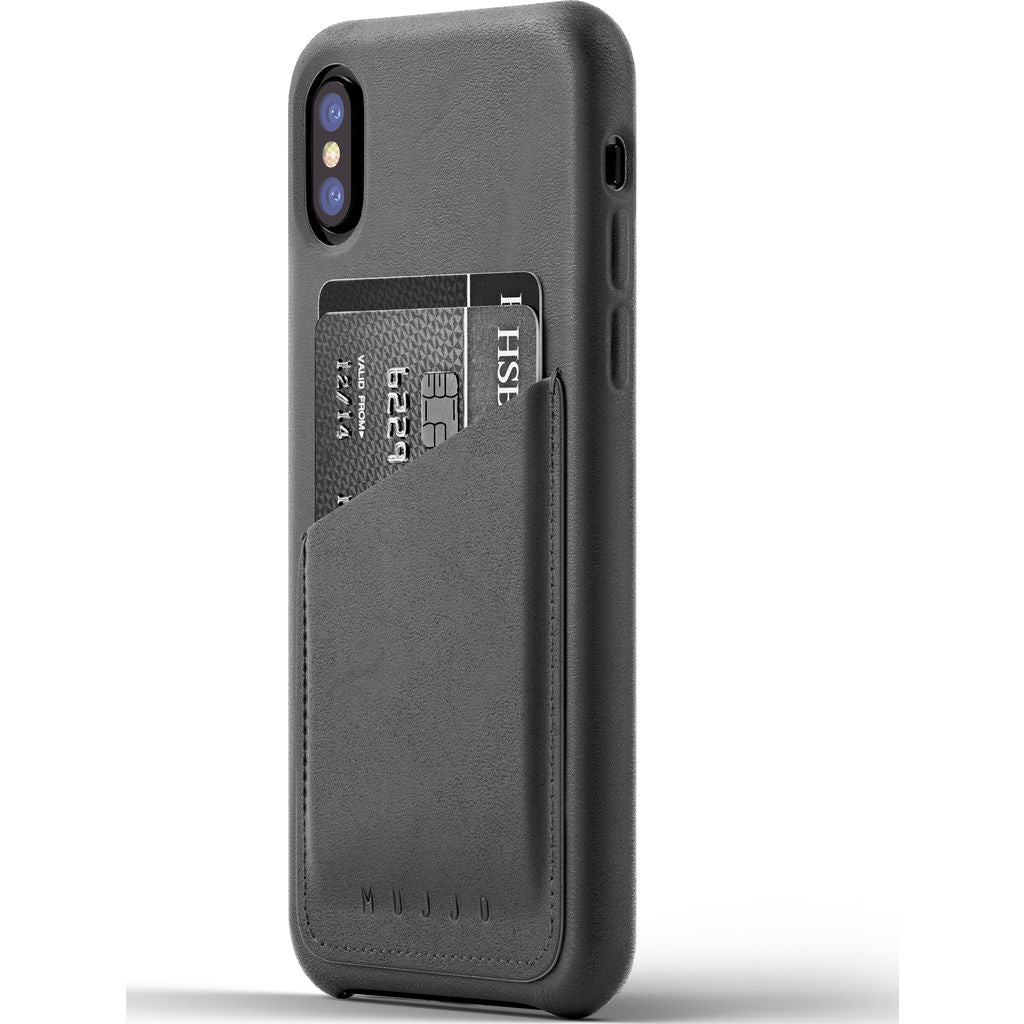 Mujjo Leather Wallet Case for iPhone X | Gray MUJJO-CS-092-GY