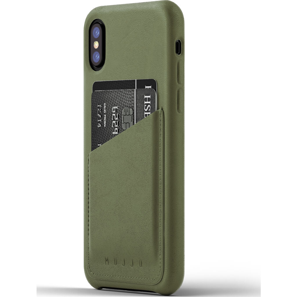 Mujjo Leather Wallet Case for iPhone X | Olive MUJJO-CS-092-OL