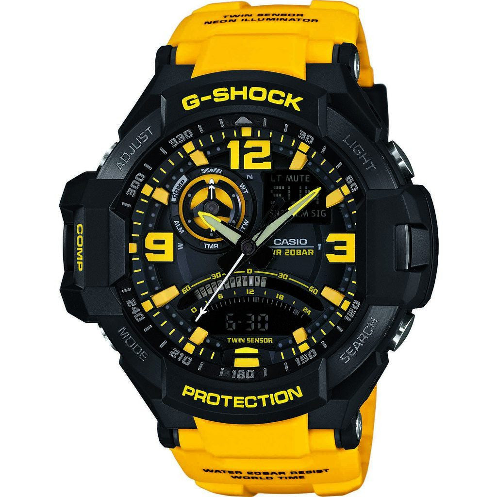 Casio G-Shock G-Aviation Master of Gravity Watch | Yellow/Black GA-1000-9B