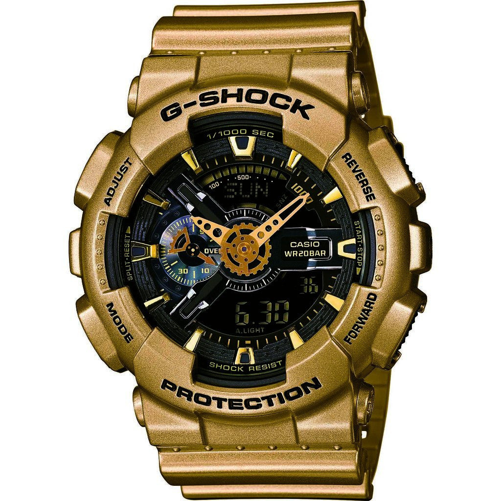 Casio G-Shock Resin Quartz Watch | Black/Gold GA110GD-9B