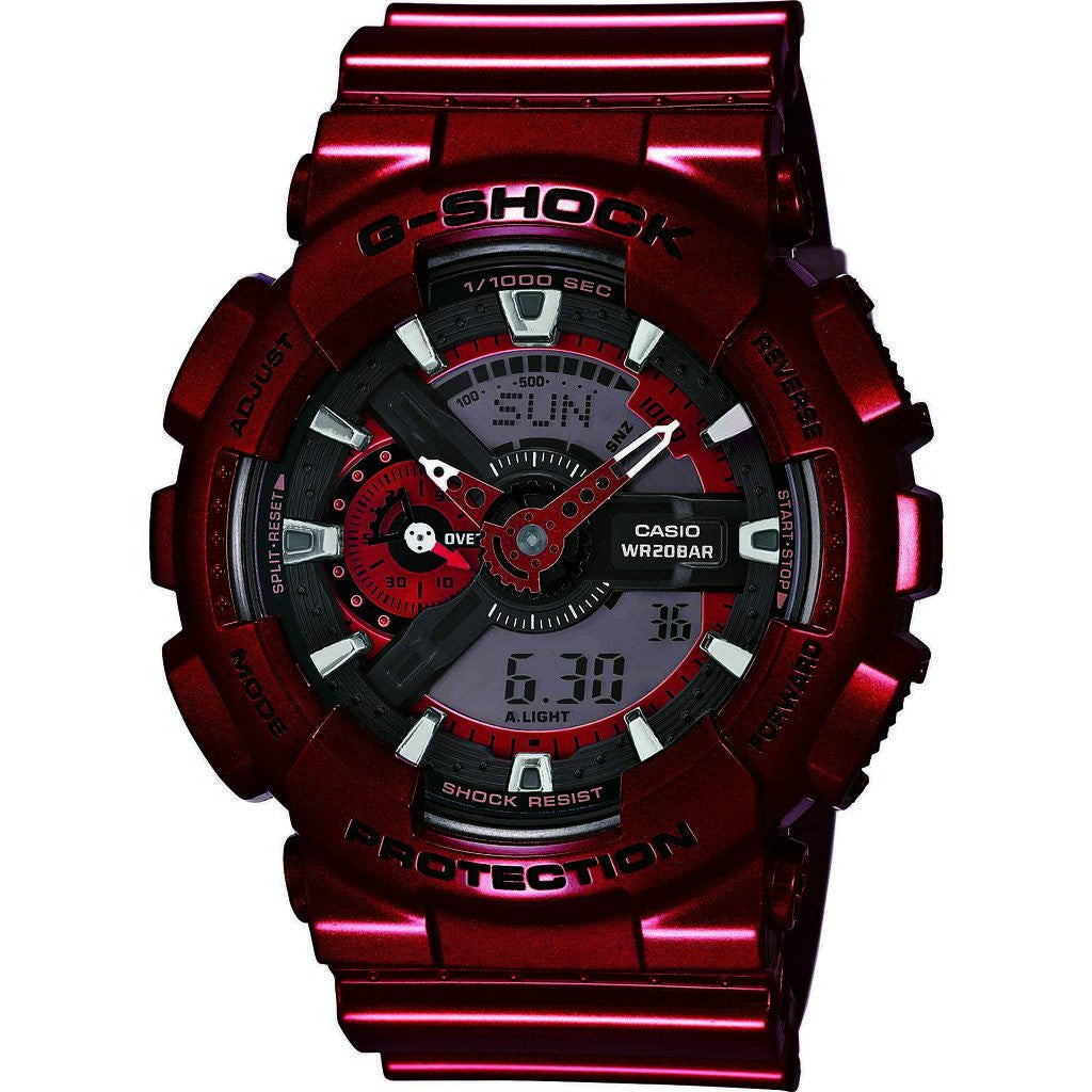 Casio G-Shock Neo-Metallic Luxury Watch | Red GA-110NM-4A