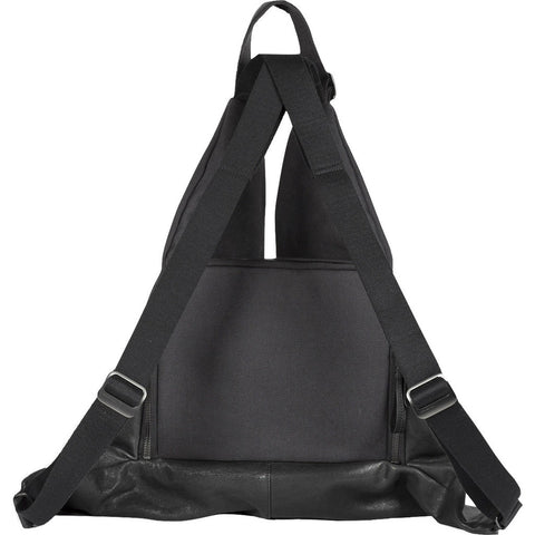Cote&Ciel Ganges Alias Split Cowhide Leather Medium Backpack | Agate Black/Charcoal Canvas 28373