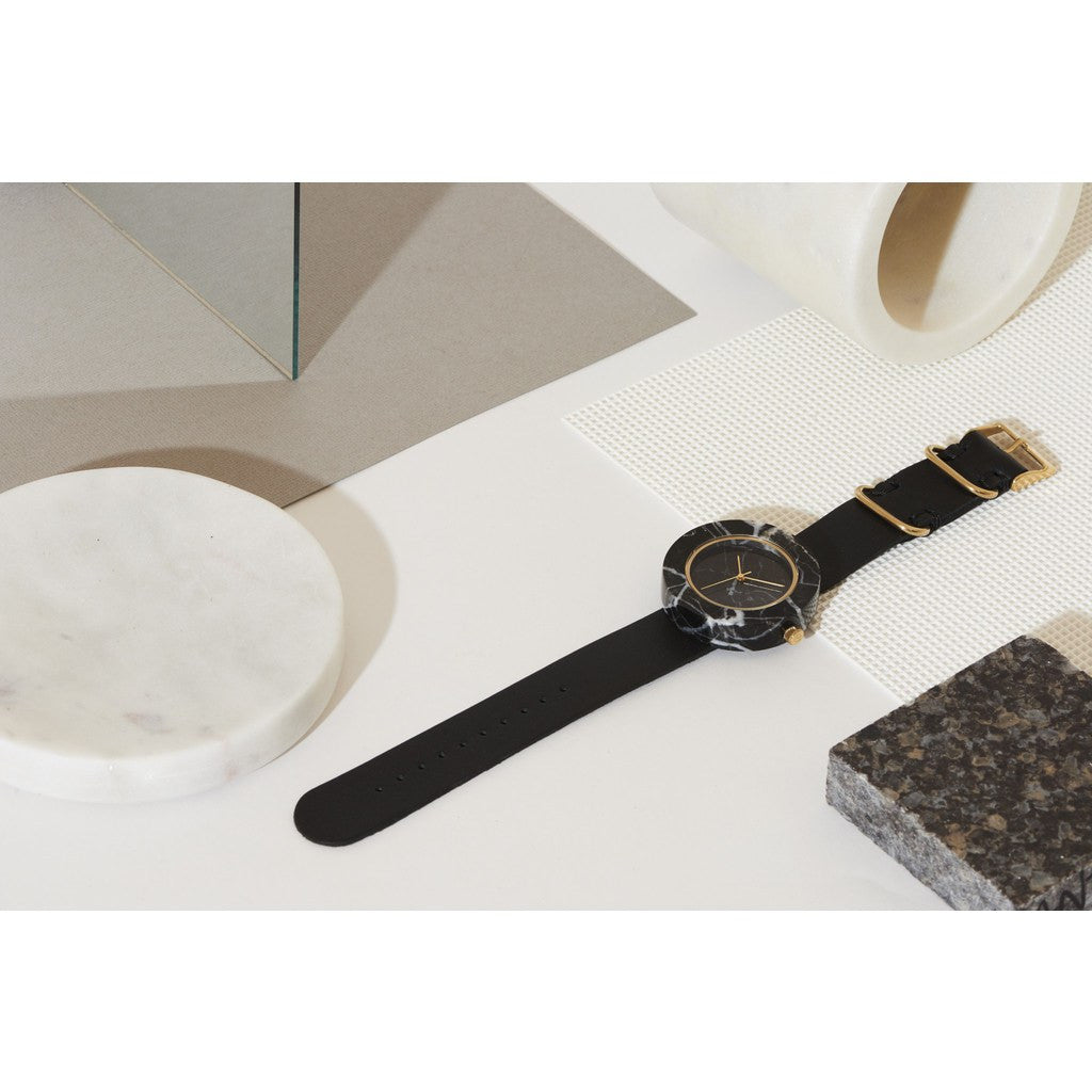 Analog Mason Genuine Black Marble Circular Watch | Black Strap gb-bo