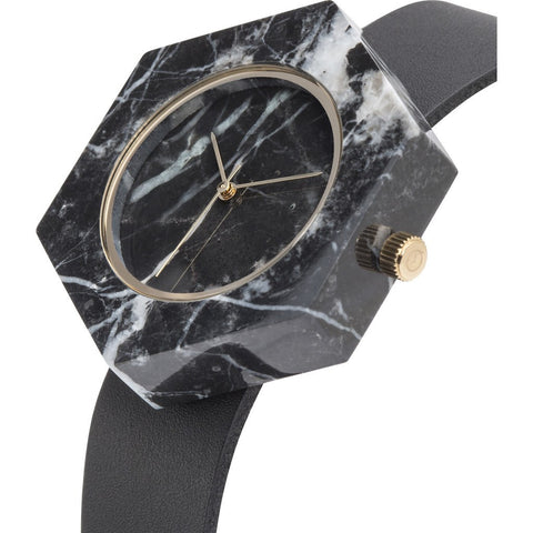 Analog Mason Genuine Black Marble Hex Watch | Black Strap gb-bx