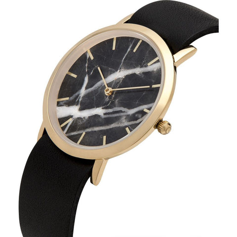 Analog Classic Genuine Black Marble Watch | Black Strap GB-CB