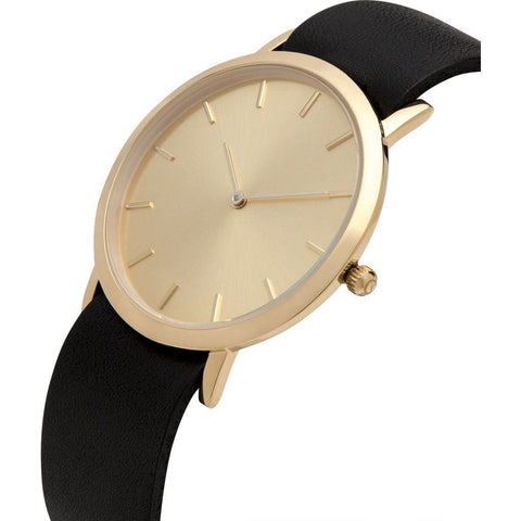Analog Classic Gold Plated Watch | Black Strap GB-CG