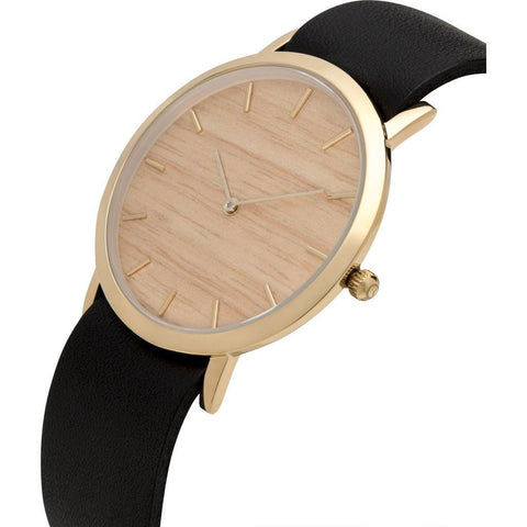Analog Classic Silverheart Wood Watch | Black Strap GB-CS