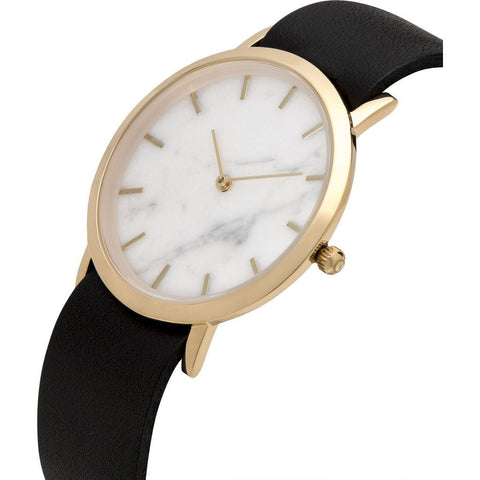Analog Classic Genuine White Marble Watch | Black Strap GB-CW