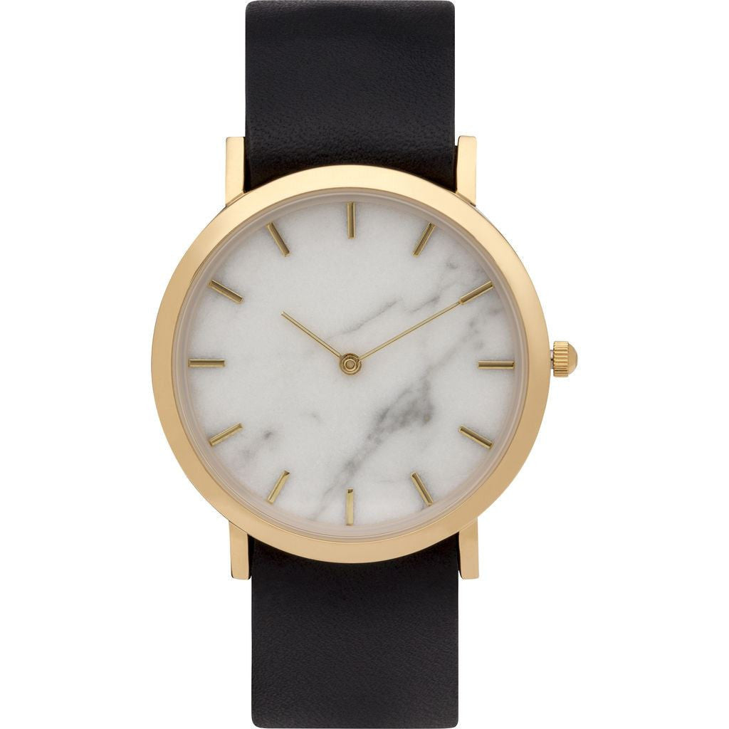 Analog Classic Genuine White Marble Watch Black Strap ...