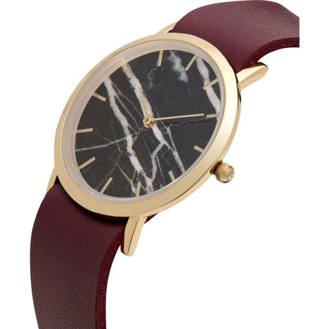 Analog Classic Genuine Black Marble Watch | Cherry Strap GC-CB