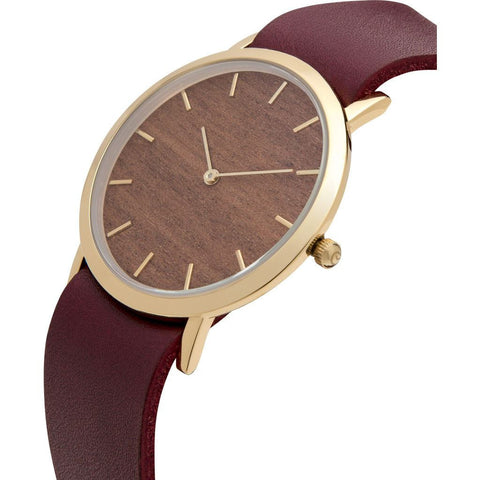 Analog Classic Makore Wood Watch | Cherry Strap GC-CM