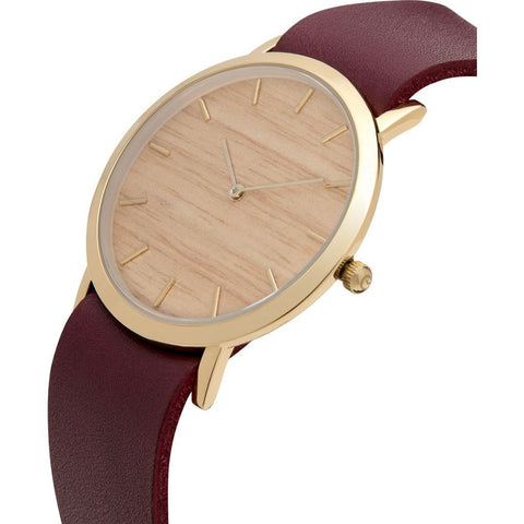 Analog Classic Silverheart Wood Watch | Cherry Strap GC-CS