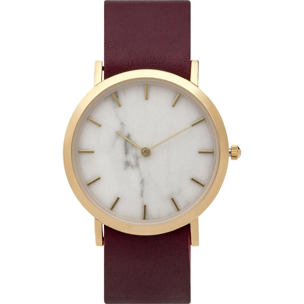 Analog Classic Genuine White Marble Watch | Cherry Strap GC-CW