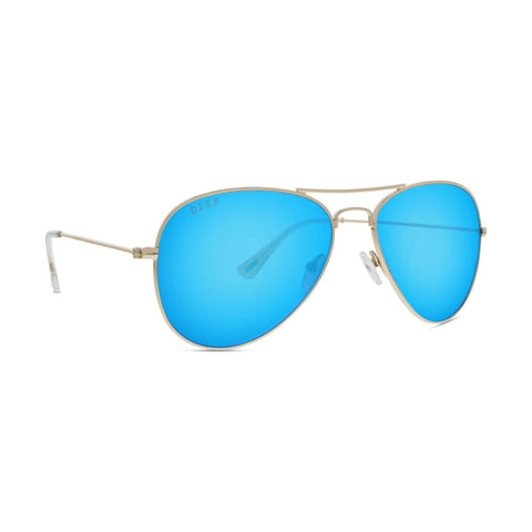 Diff Eyewear Cruz Sunglasses | Gold + Blue Mirror Lens