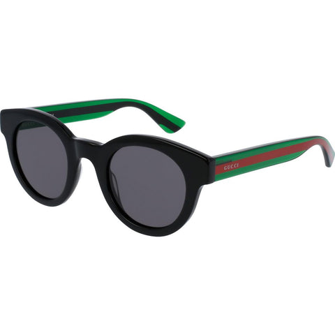 Gucci GG0002S-002 Men's Sunglasses | Shiny Transparent Green/Red Grey/Round