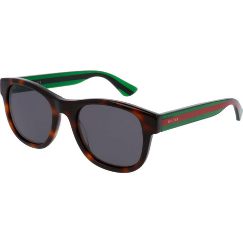 Gucci GG0003S-003 Men's Sunglasses | Shiny Transparent Green/Red Grey/Round