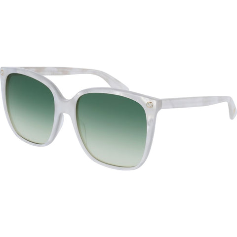 Gucci GG0022S-004 Women's Sunglasses | Pearled White/Shaded Green/Cat Eye