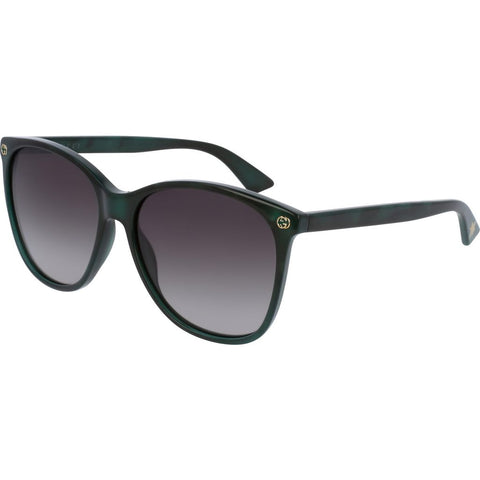 Gucci GG0024S-004 Women's Sunglasses | Pearled Green/Shaded Brown/Round