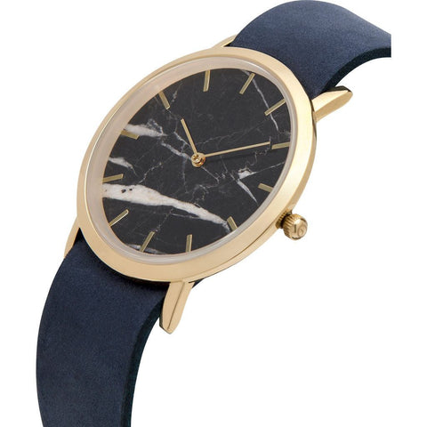 Analog Classic Genuine Black Marble Watch | Navy Strap GN-CB