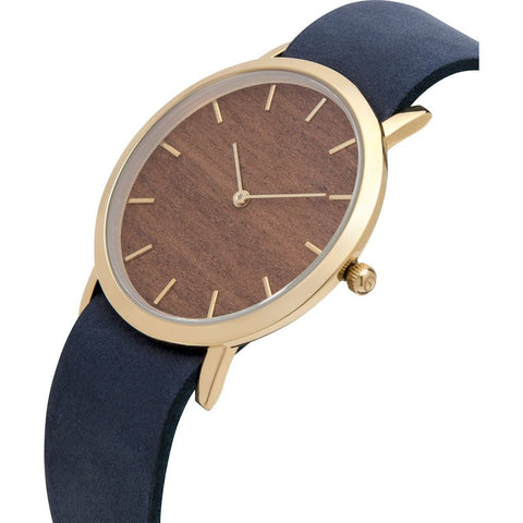 Analog Classic Makore Wood Watch | Navy Strap GN-CM