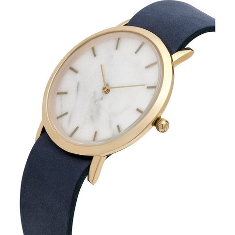 Analog Classic Genuine White Marble Watch | Navy Strap GN-CW