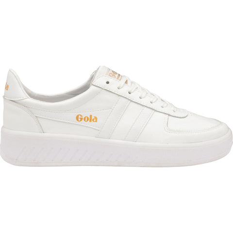 Gola Mens Grandslam Leather Sneakers | White/White/White- CMA567-Size 13