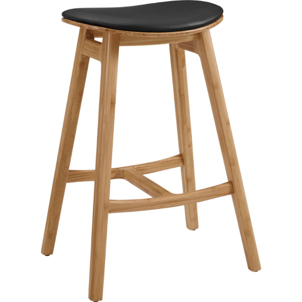 "Skol 26"" Counter Height Stool With Leather Seat - Caramelized (Set of 2)"